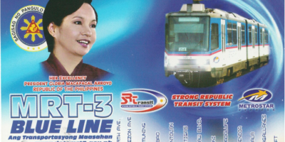 MRT 3 Strong Republic Series single journey ticket in blue background
