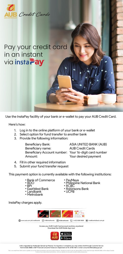 Instructions on how to pay for AUB credit card using InstaPay