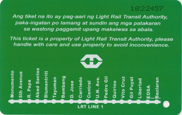 Green reverse side of magnetic ticket