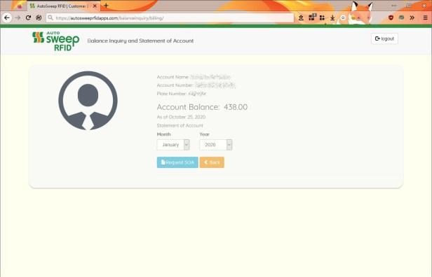 Autosweep RFID Balance Inquiry website