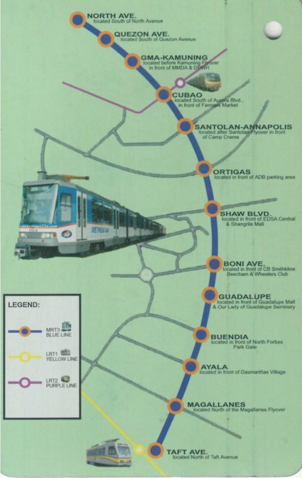 Ligtas na Paglalakbay card with Station List