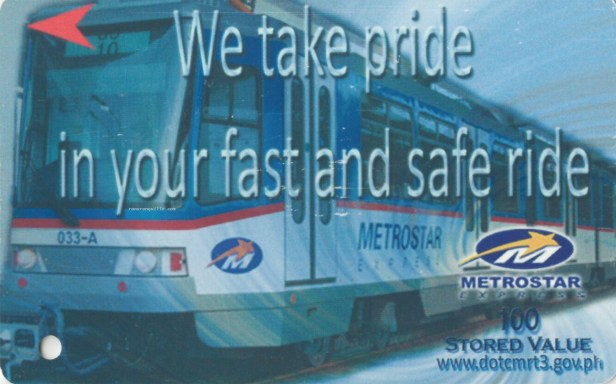 Ligtas na Paglalakbay Stored Value Ticket with MRT 3 Metrostar Express train