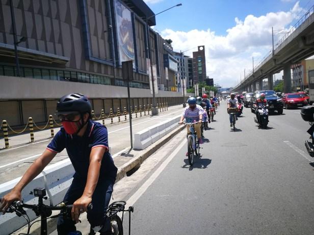 Bike contingent at Marilaque Highway near Ligaya