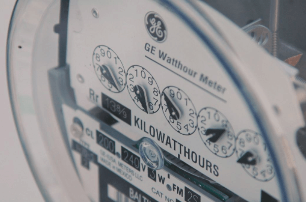 An outdoors electrical usage meter