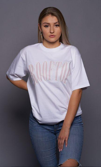 Oversize Shirt College Logo White and Flieder