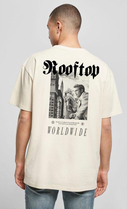 Oversize T-Shirt Worldwide Colour Sand mit Backprint