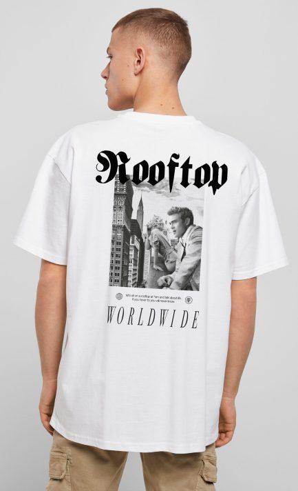Oversize Shirt Worldwide Weiß mit Backprint