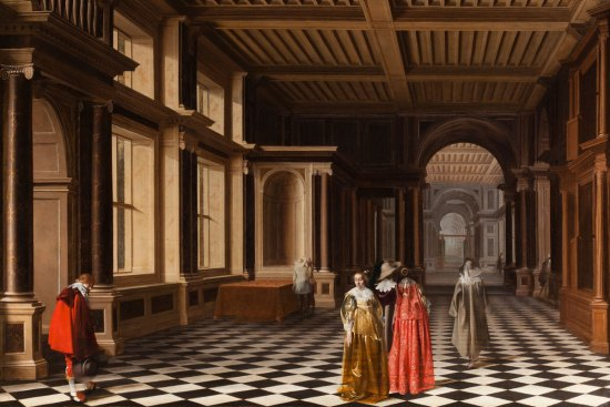 Vander Stock and Duyster, Pieter W. VAN DER STOCK (1599-1678) and Willem C. DUYSTER (ca. 1592-after 1650) Elegant Figures in a Classical Colonnaded Gallery, 1632 Oil on canvas 101 x 152 cm Courtesy Rafael Valls ltd, London
