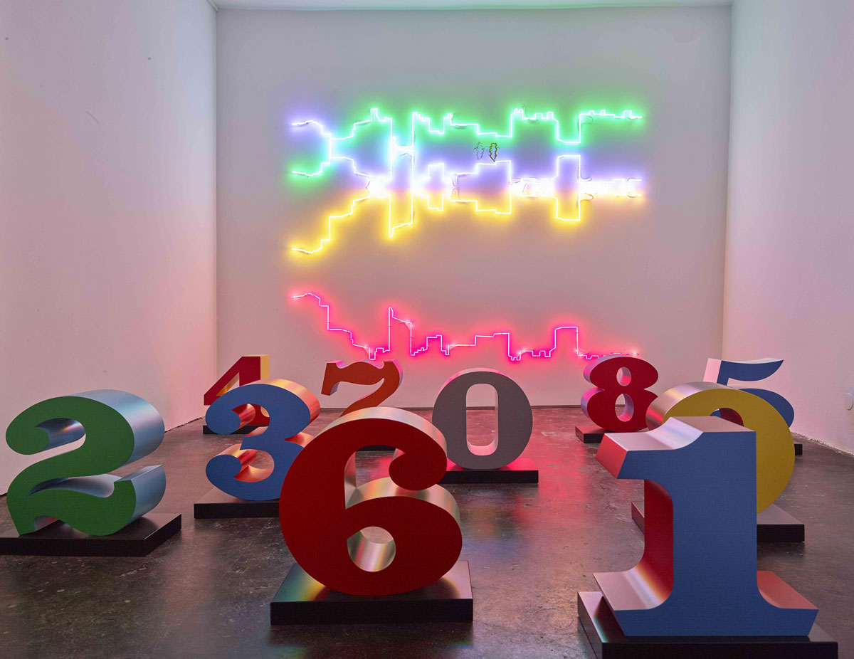 "Robert Indiana and Francesco Candeloro, ""Numbers one through zero"", 1980 - 2001; ""Linee Sospese"", 2015 © Jean-Pierre Gabriel"