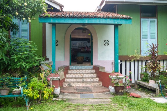 the entrance of the guesthouse