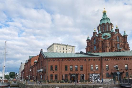 Restored port magazins infront of theUspenski Cathedral