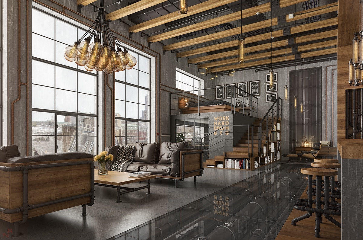 Loft Living Room Design With Modern Industrial Style - RooHome on Apartment Decorating Styles  id=81572