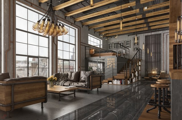 Loft Living Room Design With Modern Industrial Style ...