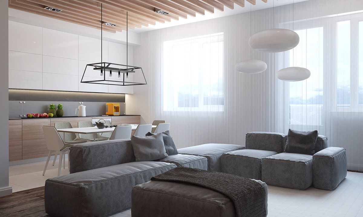 Grey And White Family Room
