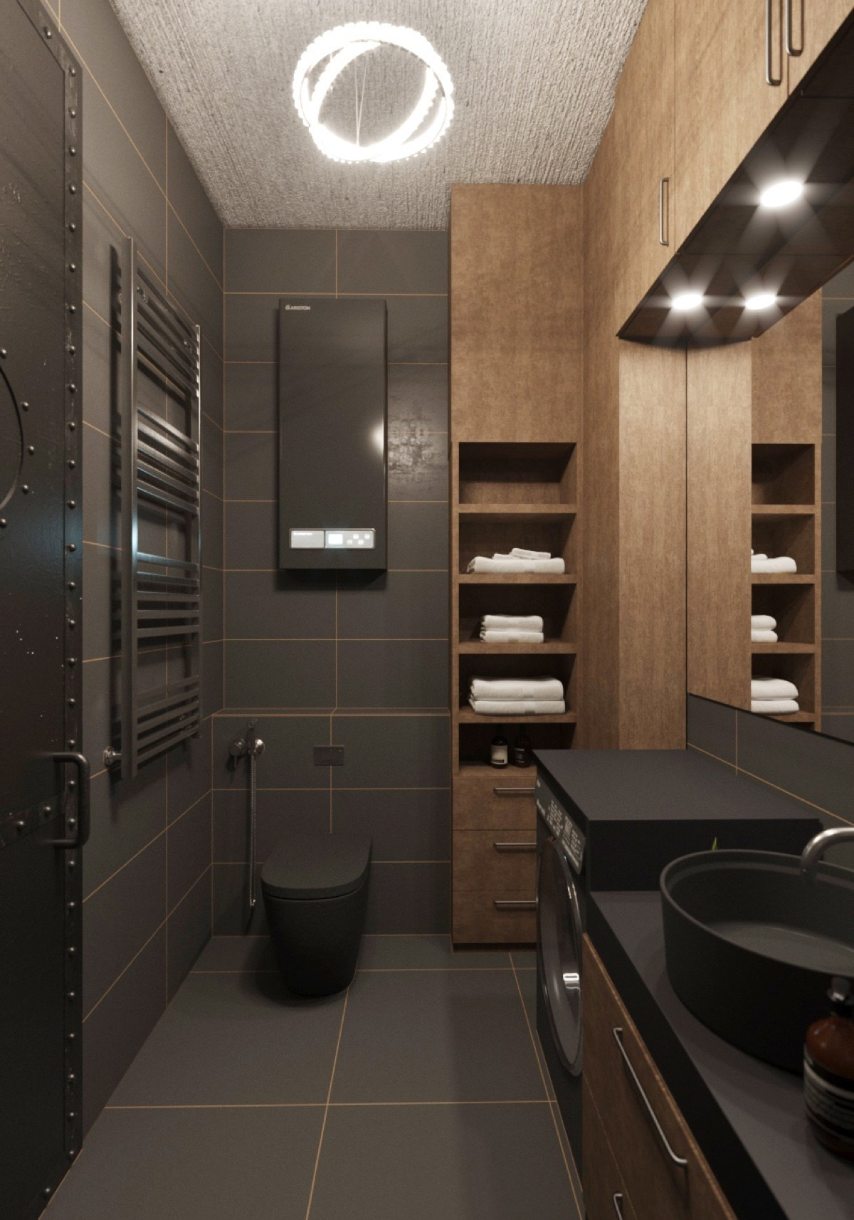 Chic Small Studio Apartment Use a Space Splendidly To Make ... on Small Apartment Bathroom Ideas  id=57600
