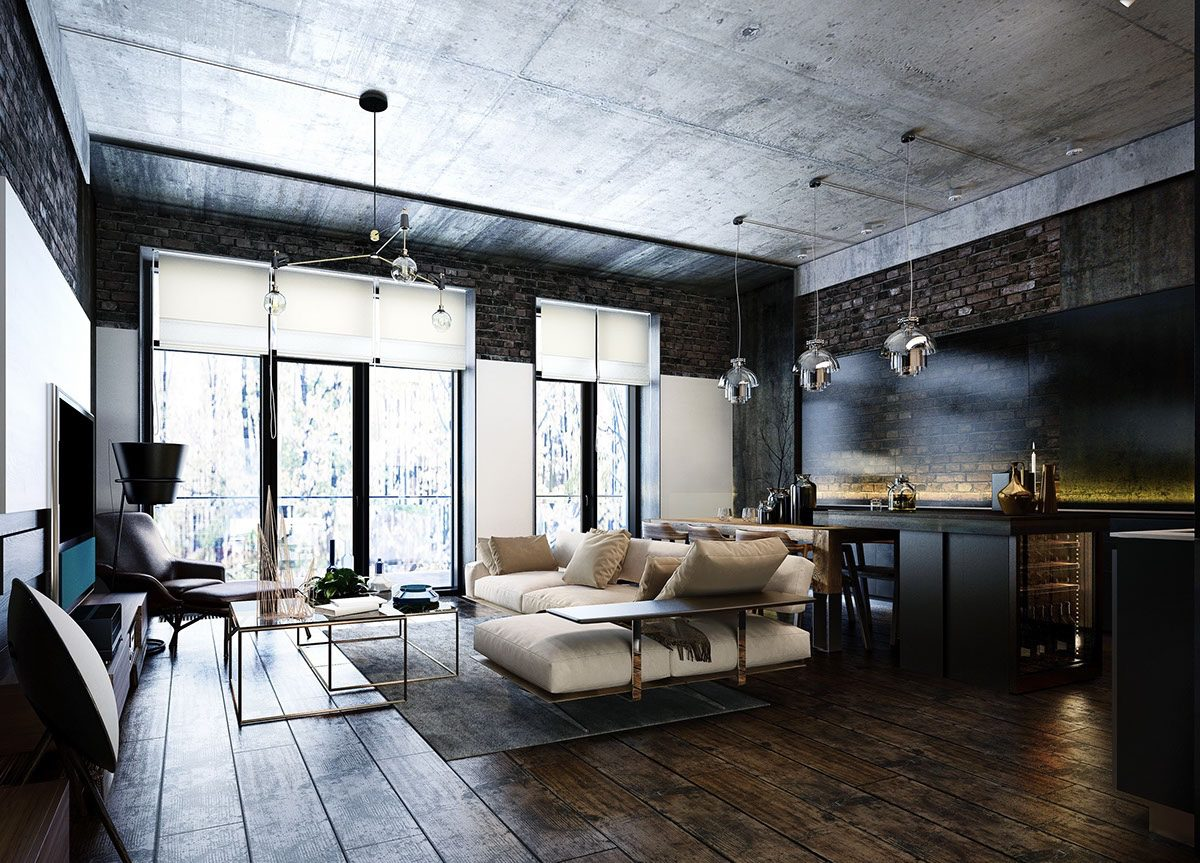 Industrial Style - 3 Modern Bachelor Apartment Design ... on Apartment Decorating Styles  id=66246