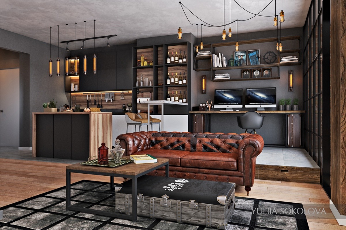 Industrial Style - 3 Modern Bachelor Apartment Design ... on Apartment Decorating Styles  id=86536