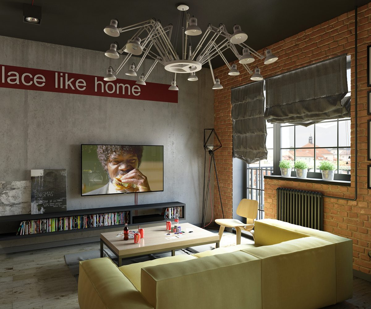 Industrial Style For Living Room Design Apply With