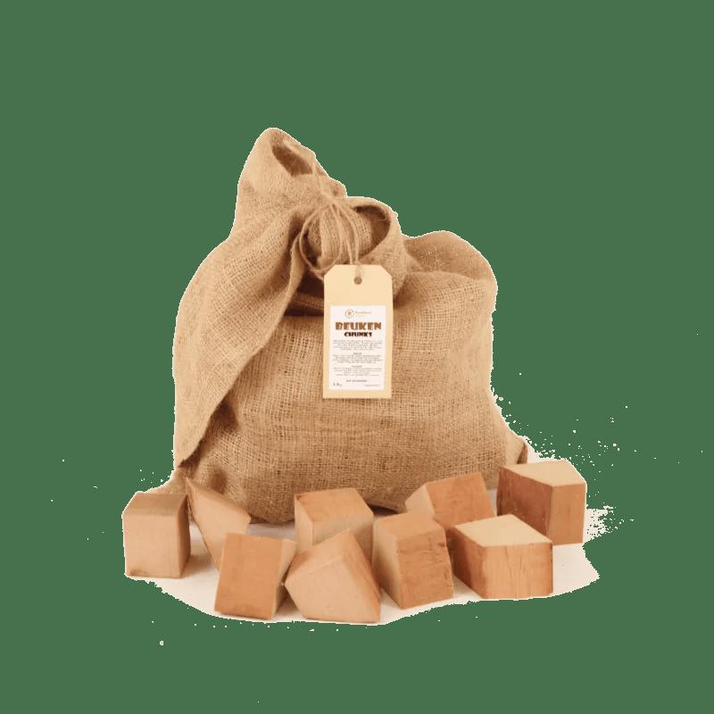 Beuken Rookhout Chunks 2-5kg voorkant met los