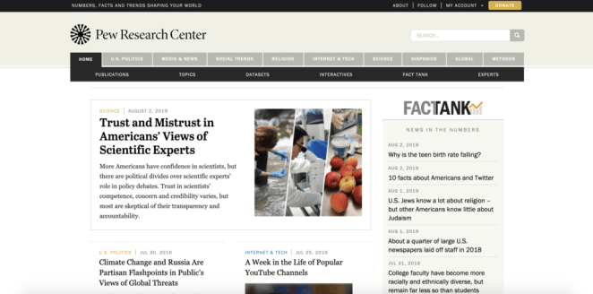 pew research center - research for sermon illustrations