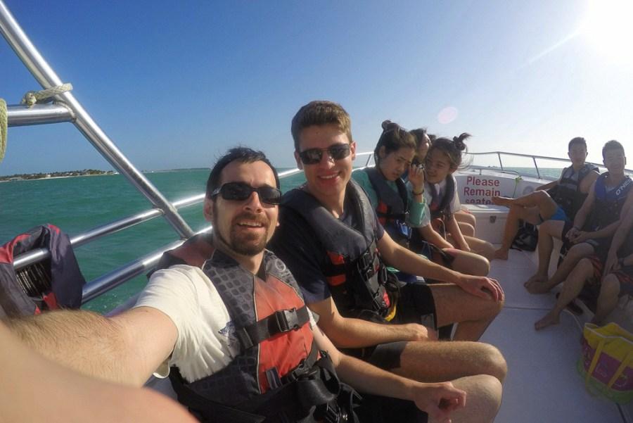 Daniel und ich mit einer Gruppe Chinesen beim Parasailing auf Key West.