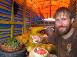 Auf dem Melonentransporter - im Paradies.