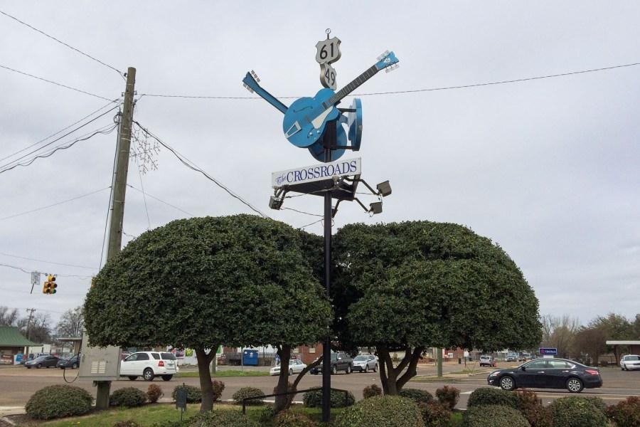 An dieser Kreuzung in Clarksdale soll Robert Johnson dem Teufel seine Seele verkauft haben.