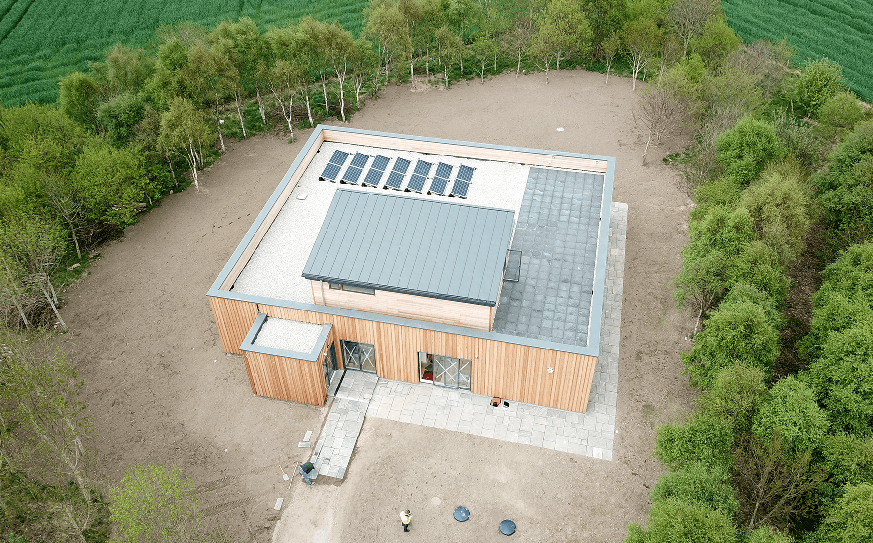 Courtyard house aerial view