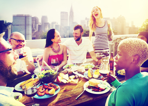 People eating in New York