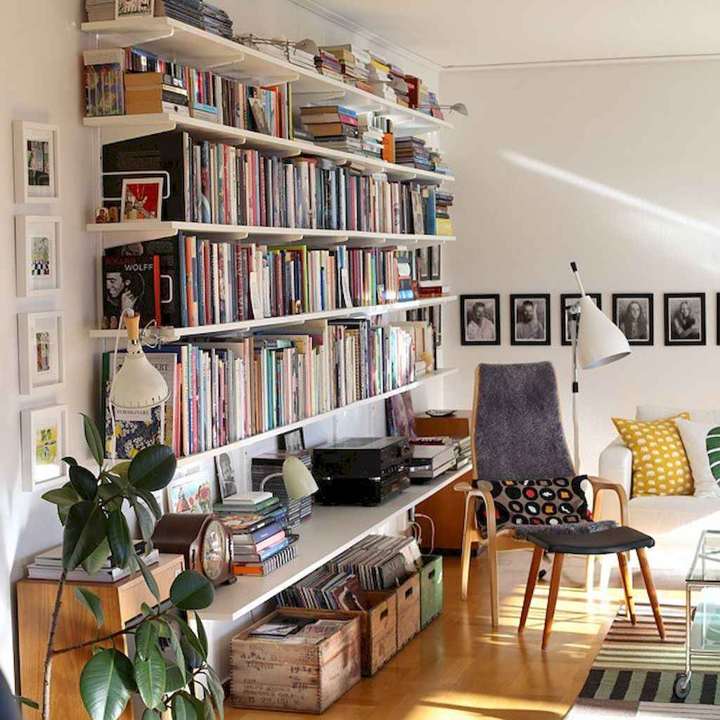 60 amazing eclectic design ideas for your library room (23)