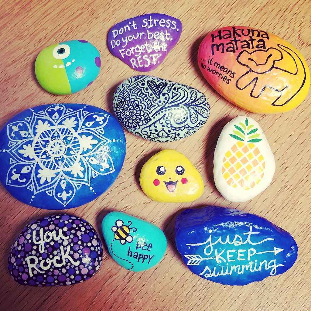 70 diy painted rock for first apartment ideas (30)