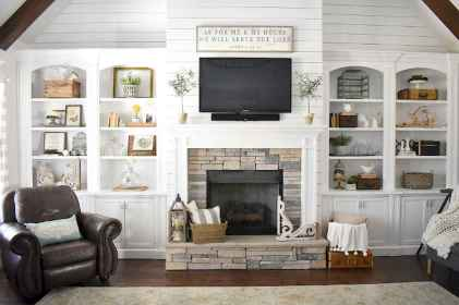 80 incridible rustic farmhouse fireplace ideas makeover (20)