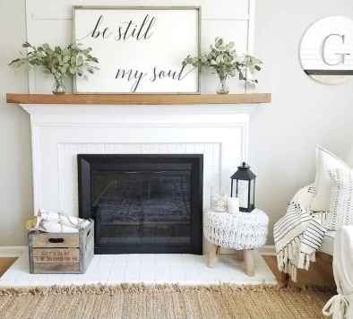 80 incridible rustic farmhouse fireplace ideas makeover (65)