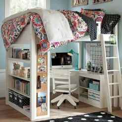 100+ cute loft beds college dorm room design ideas for girl (104)