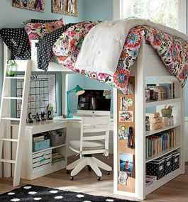 100+ cute loft beds college dorm room design ideas for girl (7)