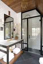 50 best farmhouse bathroom tile remodel ideas (28)