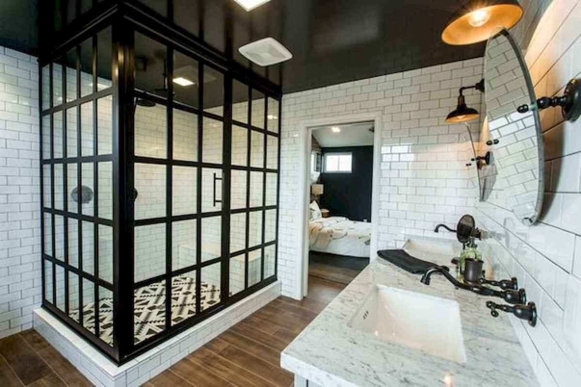 100 best farmhouse bathroom tile shower decor ideas and remodel to inspiring your bathroom (38)