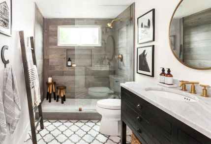 100 best farmhouse bathroom tile shower decor ideas and remodel to inspiring your bathroom (52)
