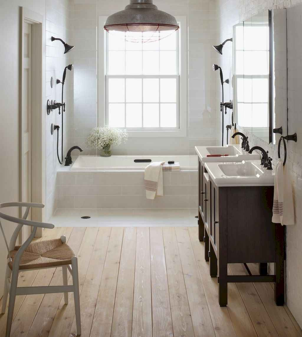 100 best farmhouse bathroom tile shower decor ideas and remodel to inspiring your bathroom (93)