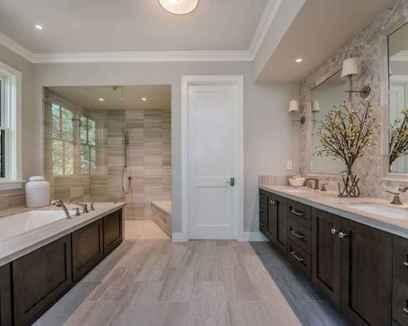 150 stunning farmhouse bathroom tile floor decor ideas and remodel to inspire your bathroom (31)