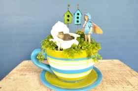 50 easy diy summer gardening teacup fairy garden ideas (40)