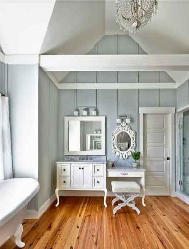 80 awesome farmhouse master bathroom decor ideas and remodel to inspire your bathroom (13)