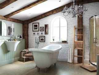 80 awesome farmhouse master bathroom decor ideas and remodel to inspire your bathroom (21)