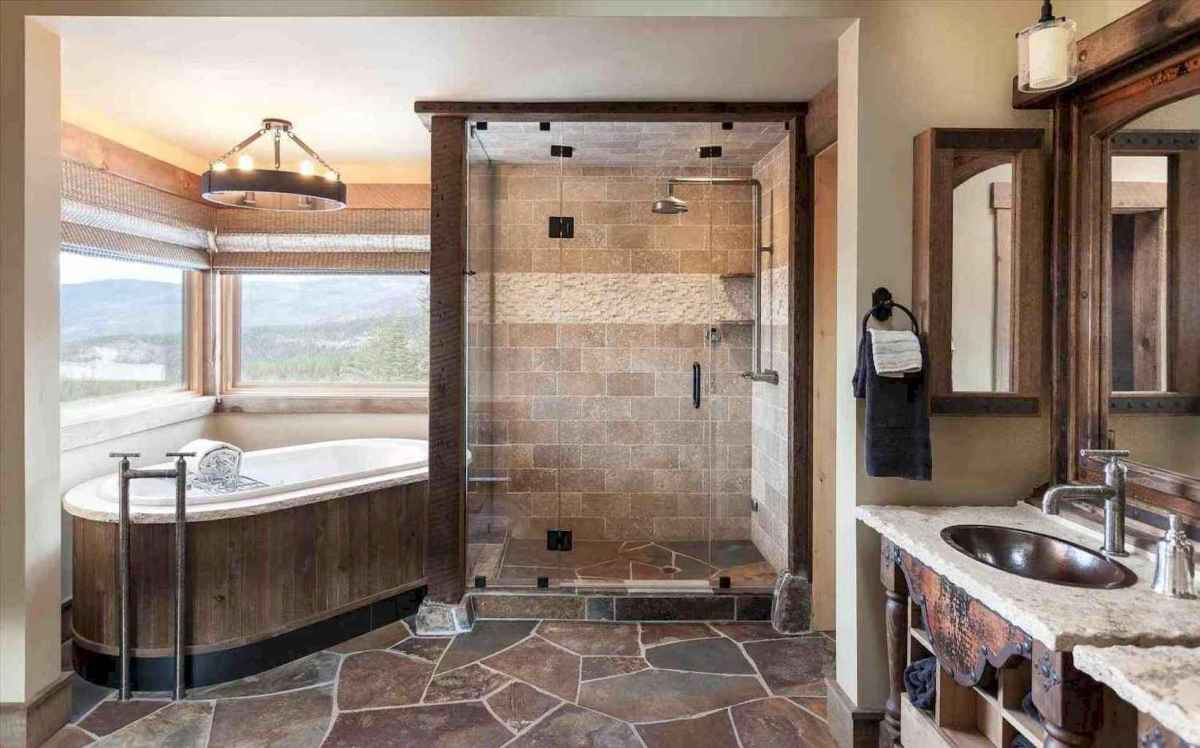 80 awesome farmhouse master bathroom decor ideas and remodel to inspire your bathroom (46)
