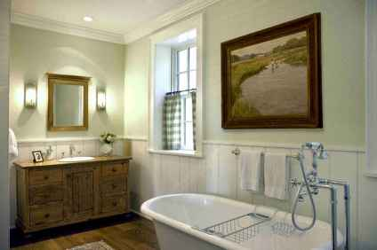 80 awesome farmhouse master bathroom decor ideas and remodel to inspire your bathroom (65)