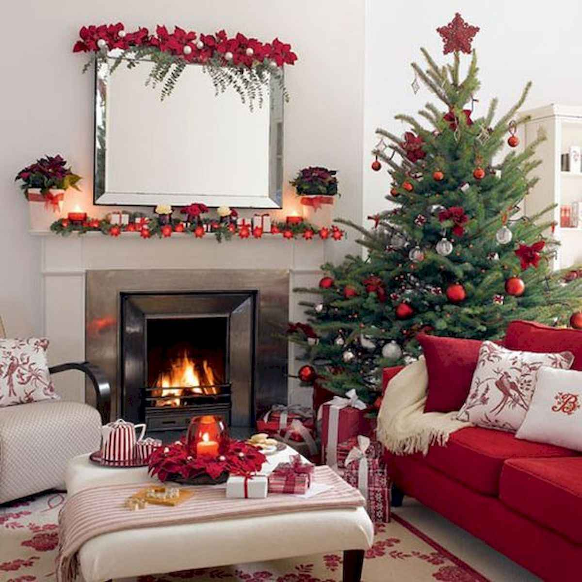 60 Simple Living Room Christmas Decorations Ideas 37