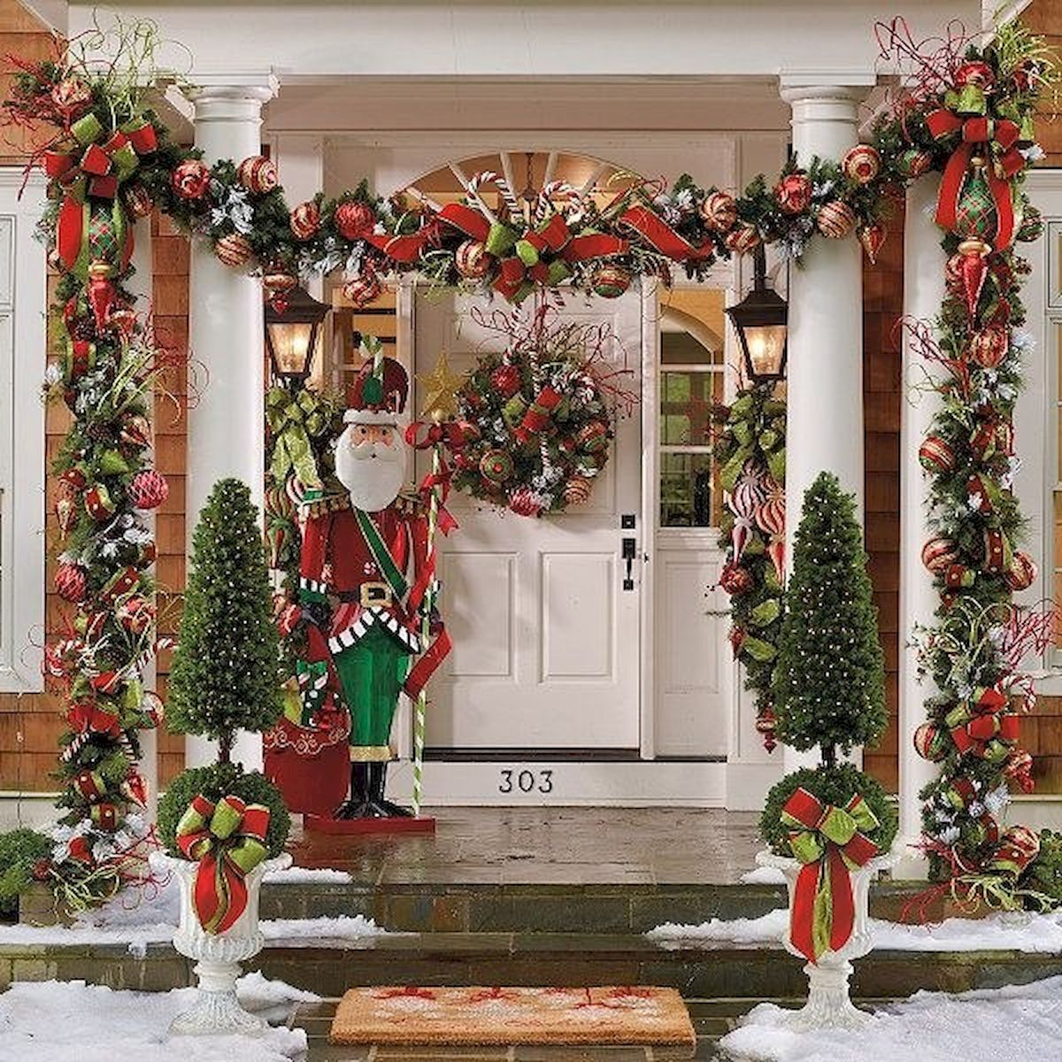 50 stunning christmas front porch decor ideas and design (1)