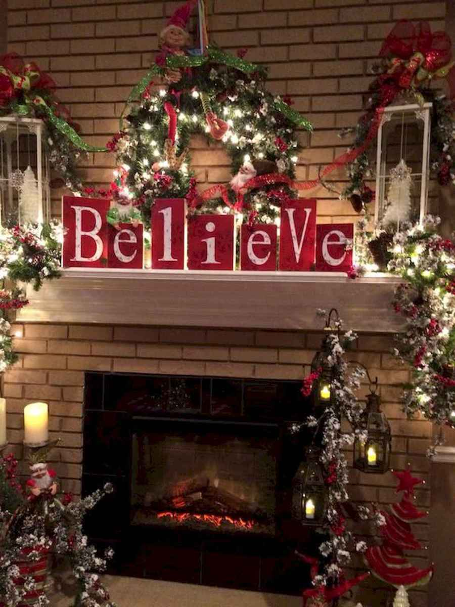 50 elegant christmas mantle decor ideas (50)