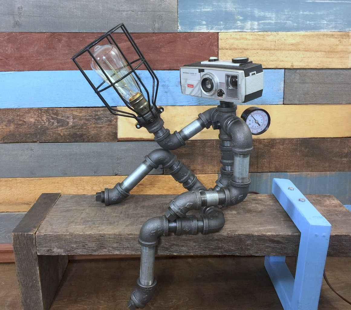 35 creative diy industrial pipe lamp design ideas robot to decor your home (5)