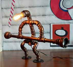 35 creative diy industrial pipe lamp design ideas robot to decor your home (6)